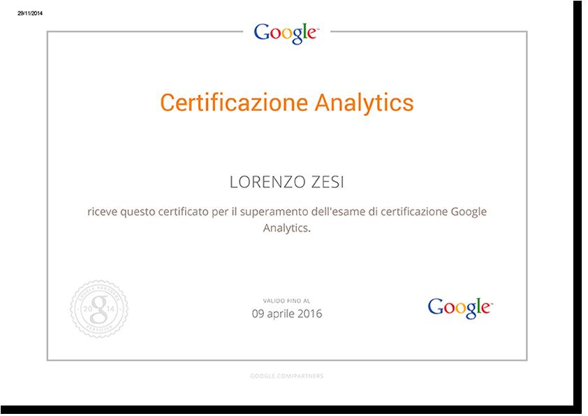 Certificazione Google Analytics - Lorenzo Zesi, Consulenza di Comunicazione e Web Marketing
