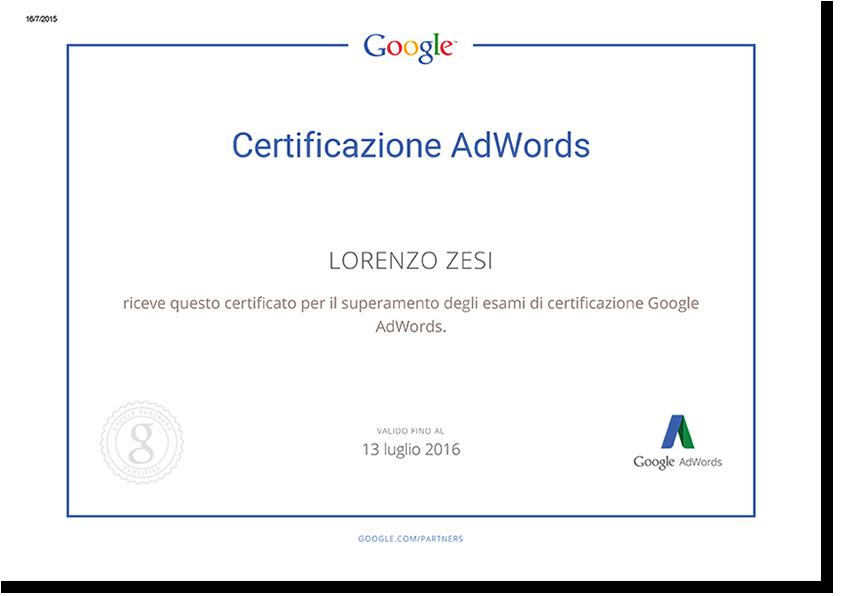 Certificazione Google AdWords - Lorenzo Zesi, Consulenza di Comunicazione e Web Marketing